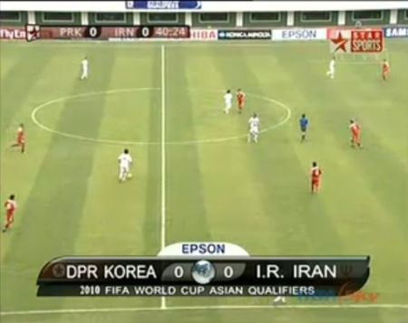 Iran in white, North Korea in red