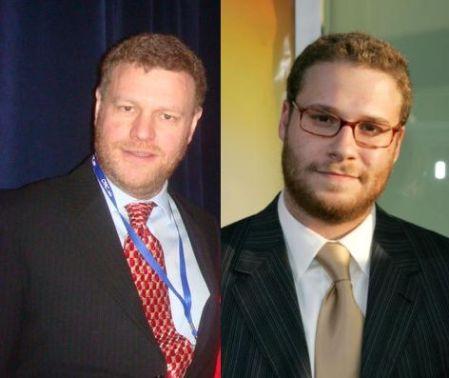 Mark Steyn (L) and Seth Rogen (R)